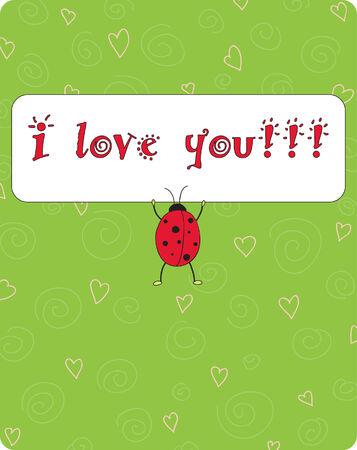 cute card with ladybug Stock Vector - 7258034