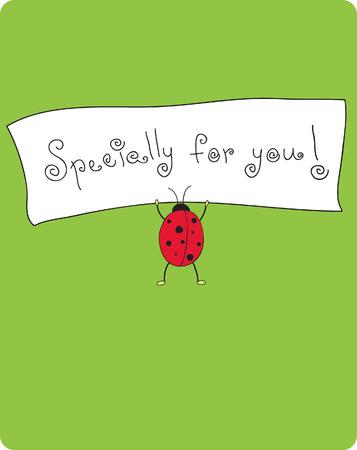 cute card with ladybug 向量圖像