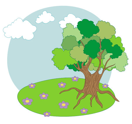 Landscape with old tree Vector