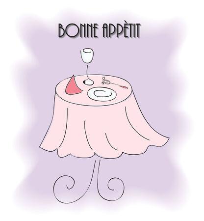 bonne: illustration of restaurant table