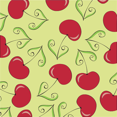 Seamless wallpaper with cherries Vector