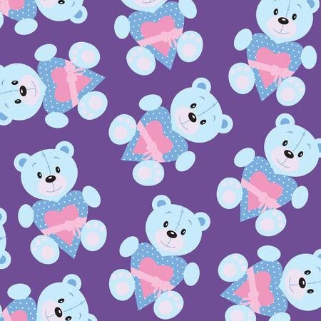 wallpaper: Seamless wallpaper with teddy bear Illustration