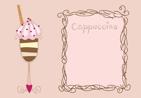 card with cappuccino and frame Ilustrace