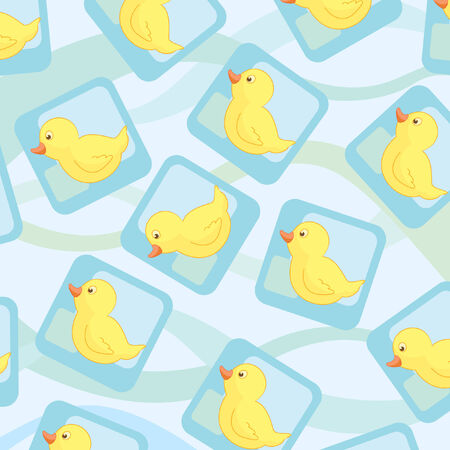 Seamless wallpaper with cute ducks Ilustracja