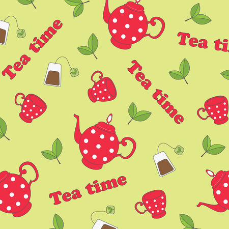 tea hot drink: Seamless wallpaper with kit for tea