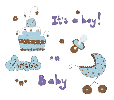 Baby elements for boy. Hand drawn  illustration Stock Vector - 7455833