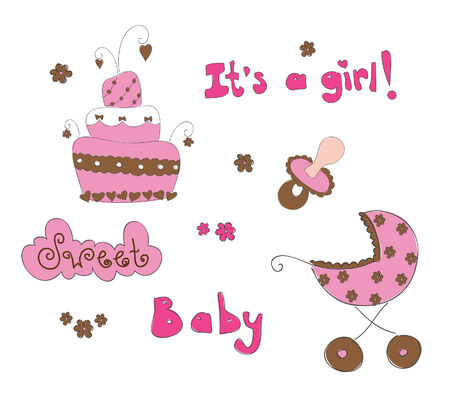 Baby elements for girl. Hand drawn  illustration