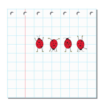 Four cute ladybugs on blank peace of paper Vector