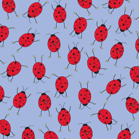 Seamless wallpaper with ladybugs Vector