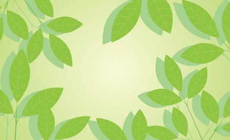 Green background with leaves Stock Vector - 7455832