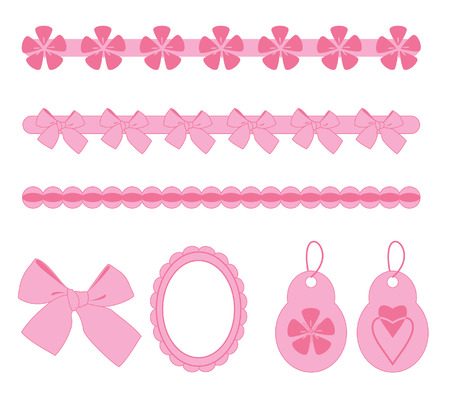 ribbons and bows:   pink scrapbook elements