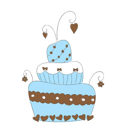 Hand drawn illustration of cute cake