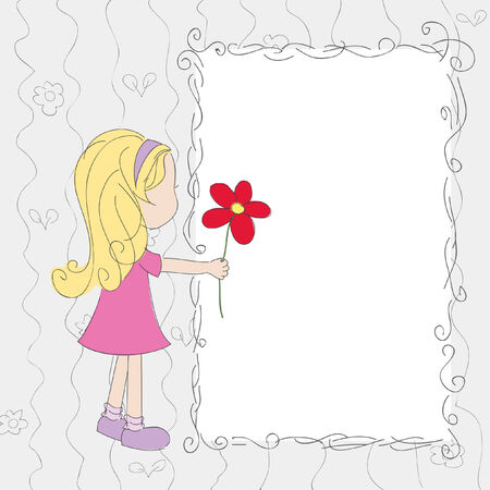 Hand drawn illustration. Little girl with flower on blank card