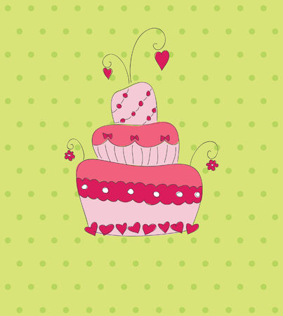 Pink cake on green dotted background.