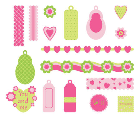 Scrapbook pink elements Stock Vector - 7576595