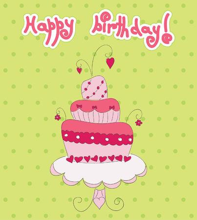 Rosa Kuchen auf grün gepunktete Hintergrund.  Standard-Bild - 7594423