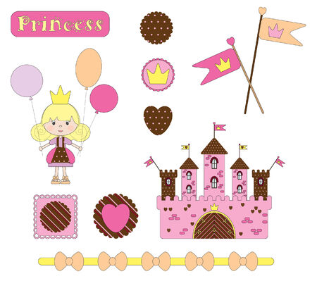 with sets of elements: Digital  scrap-booking. Princess set