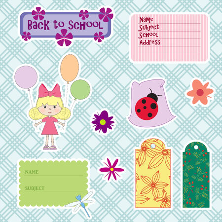 Elements for scrapbook. Back to school Vector