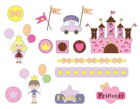 heart with crown: Digital  scrapbook. Fairytale