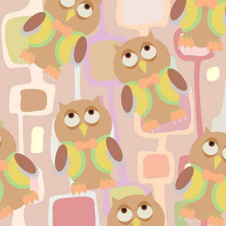 owl illustration: Seamless children background pattern