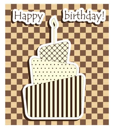 Biglietto di compleanno marrone con torta  Archivio Fotografico - 7718238