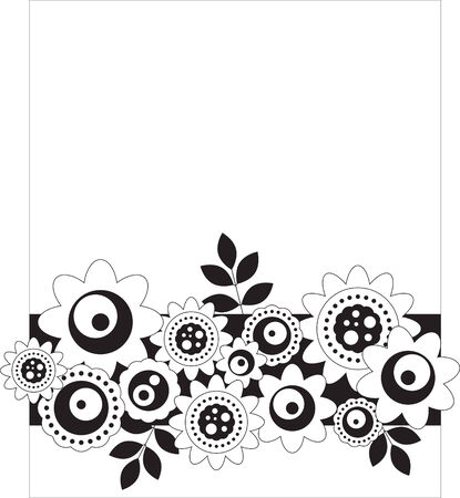 greeting card background: Black and white floral background