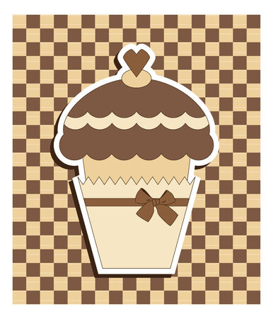 cute chocolate: Brown card with muffin