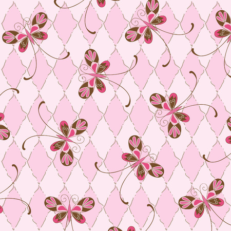 rhomb: Pink  background with butterflies