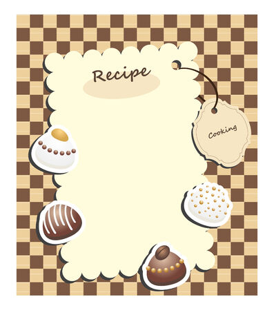 recipe card:   recipe card with tag and chocolate candies on checkered background