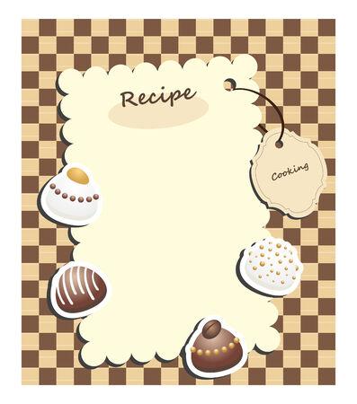 cafe bombon: tarjeta de receta con caramelos de etiqueta y chocolate en cuadros de fondo