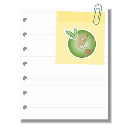 sticky note: Blank paper with sticker note and green Earth Illustration
