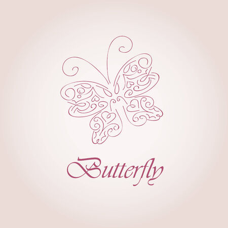 symbol of butterfly. Hand drawn illustration Vector