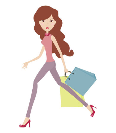 Hurry nice girl with bags Stock Illustratie