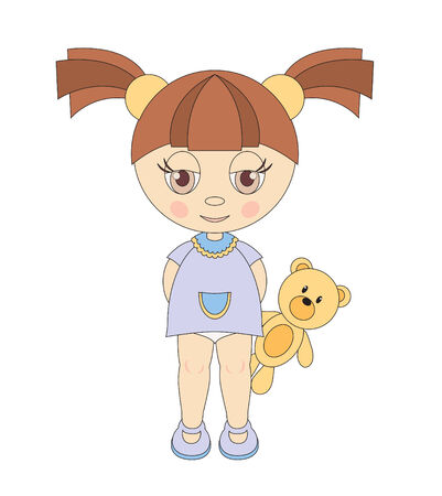 illustration of little girl with teddy bear