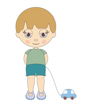 Cute little boy with toy Vector