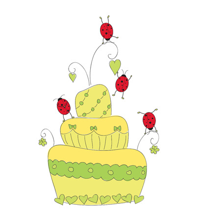 Cute casual cake with ladybugs Vector