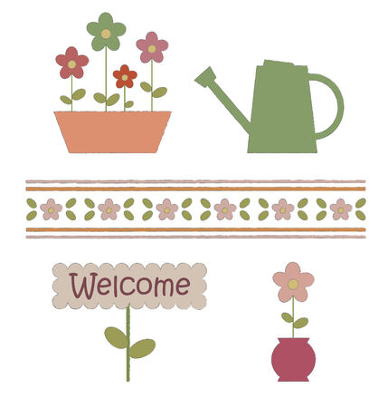watering can: Garden elements.   illustration