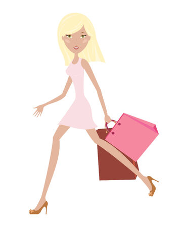 fashion illustration: Hurry nice girl with bags Illustration