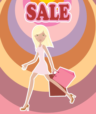 Hurry nice girl with bags Stock Vector - 7855317