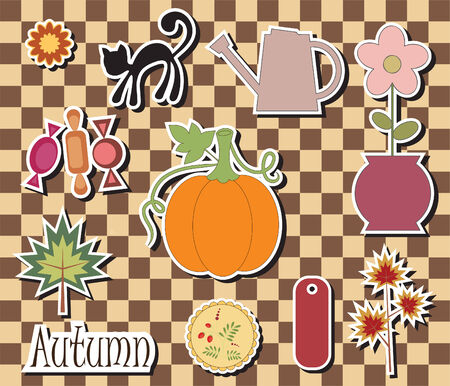 Digital scrapbook. Theme autumn Vector