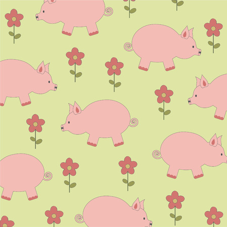 Background pattern with pigs Illustration