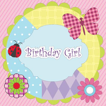 Cumpleaños chica - tarjeta de coloridos para la fiesta de cumpleaños  Foto de archivo - 8068757