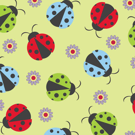 Colorful seamless with ladybugs Stock Vector - 8068759