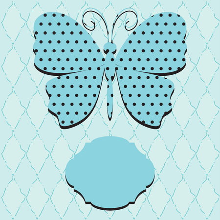 Blue blank card with butterfly.   Vector
