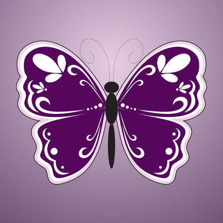 Violet butterfly.   Vector