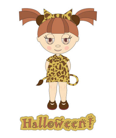 Toddler in costume for Halloween Vector