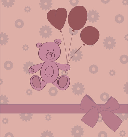 card with teddy bear Vector