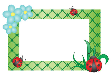 Cute floral frame with ladybugs