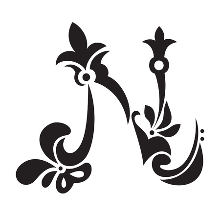 Victorian hand gezeichnete Buchstaben N Standard-Bild - 8132825