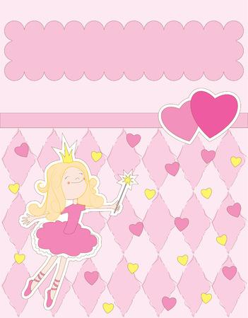 best party: carta rosa con la principessa  Vettoriali